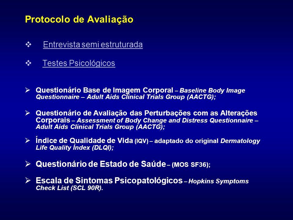 Protocolo de Avaliação  Entrevista semi estruturada  Testes Psicológicos  Questionário Base de Imagem Corporal – Baseline Body Image Questionnaire