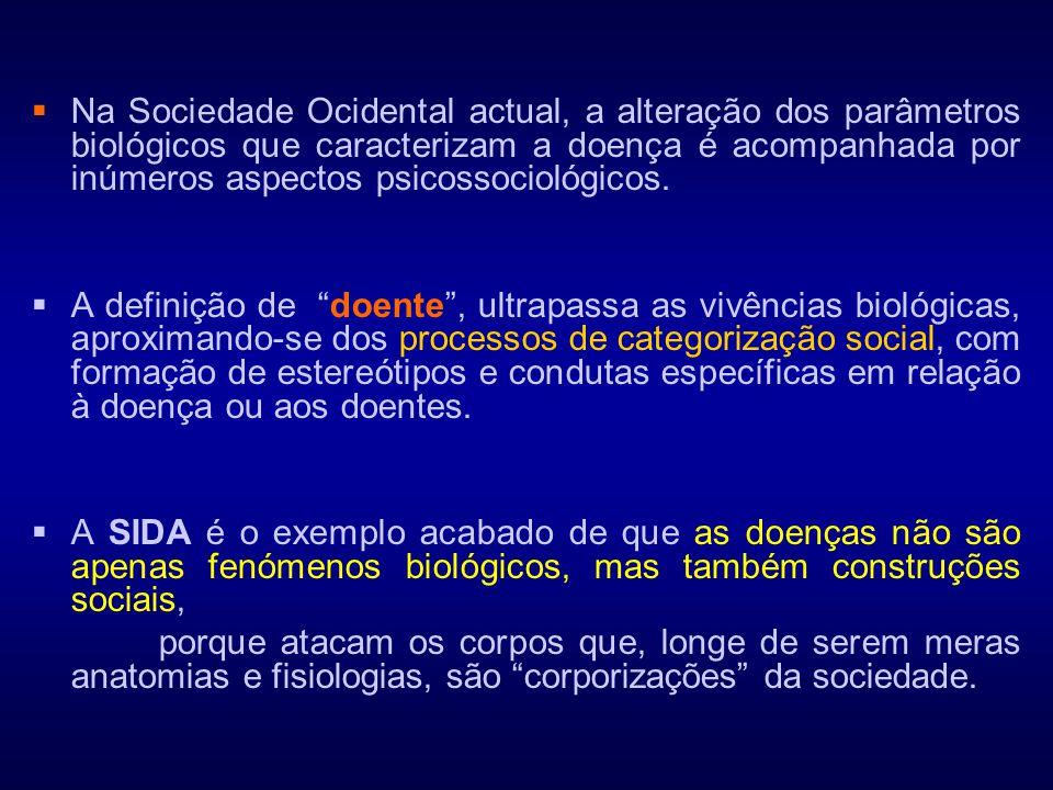  Na Sociedade Ocidental actual, a alteração dos parâmetros biológicos que caracterizam a doença é acompanhada por inúmeros aspectos psicossociológico