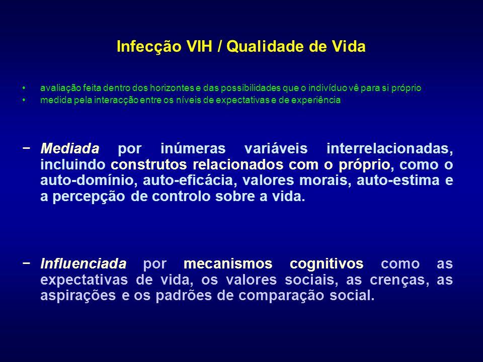 Infecção VIH / Qualidade de Vida avaliação feita dentro dos horizontes e das possibilidades que o indivíduo vê para si próprio medida pela interacção