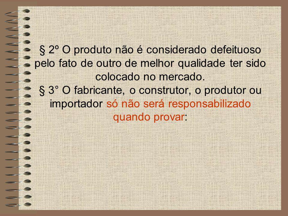 I - que não colocou o produto no mercado; II - que, embora haja colocado o produto no mercado, o defeito inexiste; III - a culpa exclusiva do consumidor ou de terceiro.