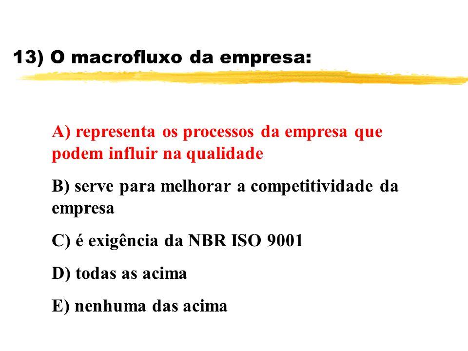 13) O macrofluxo da empresa: A) representa os processos da empresa que podem influir na qualidade B) serve para melhorar a competitividade da empresa