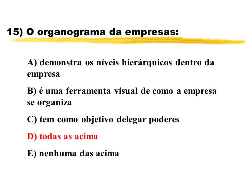 15) O organograma da empresas: A) demonstra os níveis hierárquicos dentro da empresa B) é uma ferramenta visual de como a empresa se organiza C) tem c