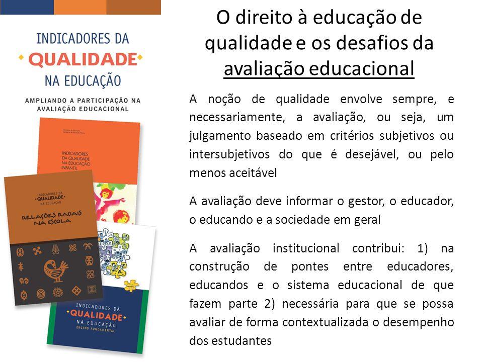 O direito à educação de qualidade e os desafios da avaliação educacional A noção de qualidade envolve sempre, e necessariamente, a avaliação, ou seja, um julgamento baseado em critérios subjetivos ou intersubjetivos do que é desejável, ou pelo menos aceitável A avaliação deve informar o gestor, o educador, o educando e a sociedade em geral A avaliação institucional contribui: 1) na construção de pontes entre educadores, educandos e o sistema educacional de que fazem parte 2) necessária para que se possa avaliar de forma contextualizada o desempenho dos estudantes