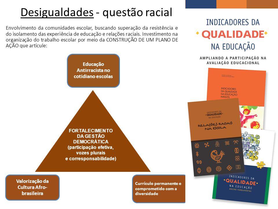 Desigualdades - questão racial Envolvimento da comunidades escolar, buscando superação da resistência e do isolamento das experiência de educação e relações raciais.
