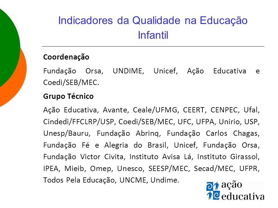 Indicadores da Qualidade na Educação Infantil Coordenação Fundação Orsa, UNDIME, Unicef, Ação Educativa e Coedi/SEB/MEC.