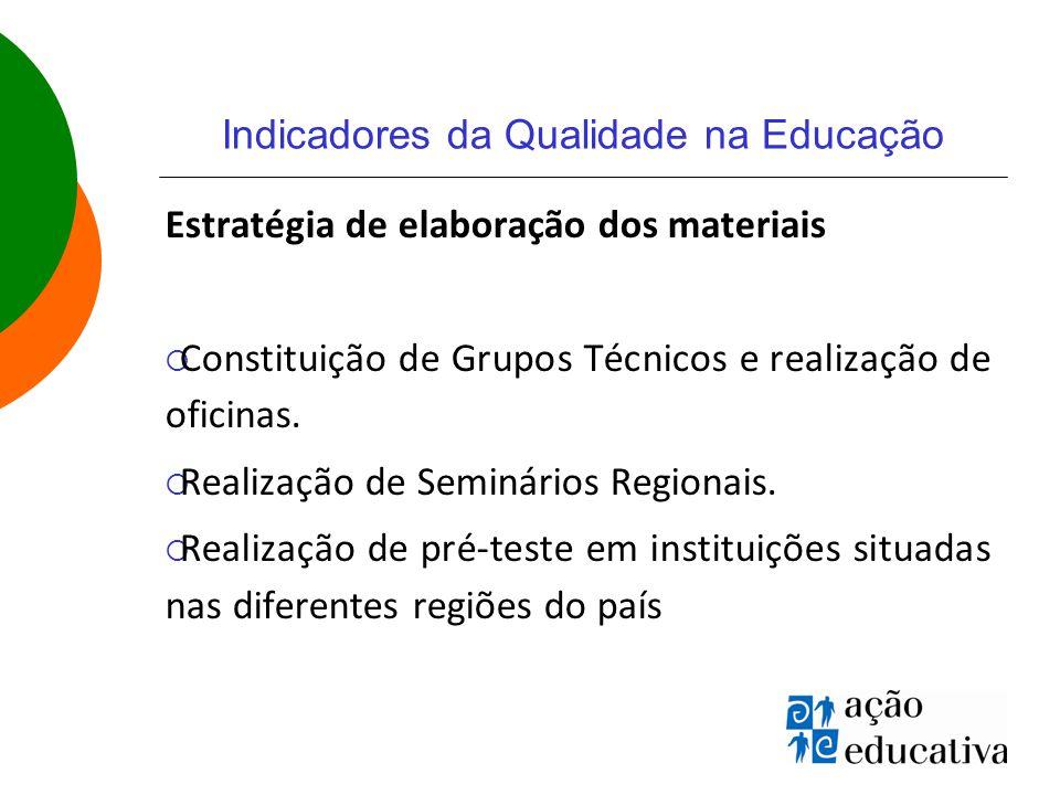 Indicadores da Qualidade na Educação Estratégia de elaboração dos materiais  Constituição de Grupos Técnicos e realização de oficinas.