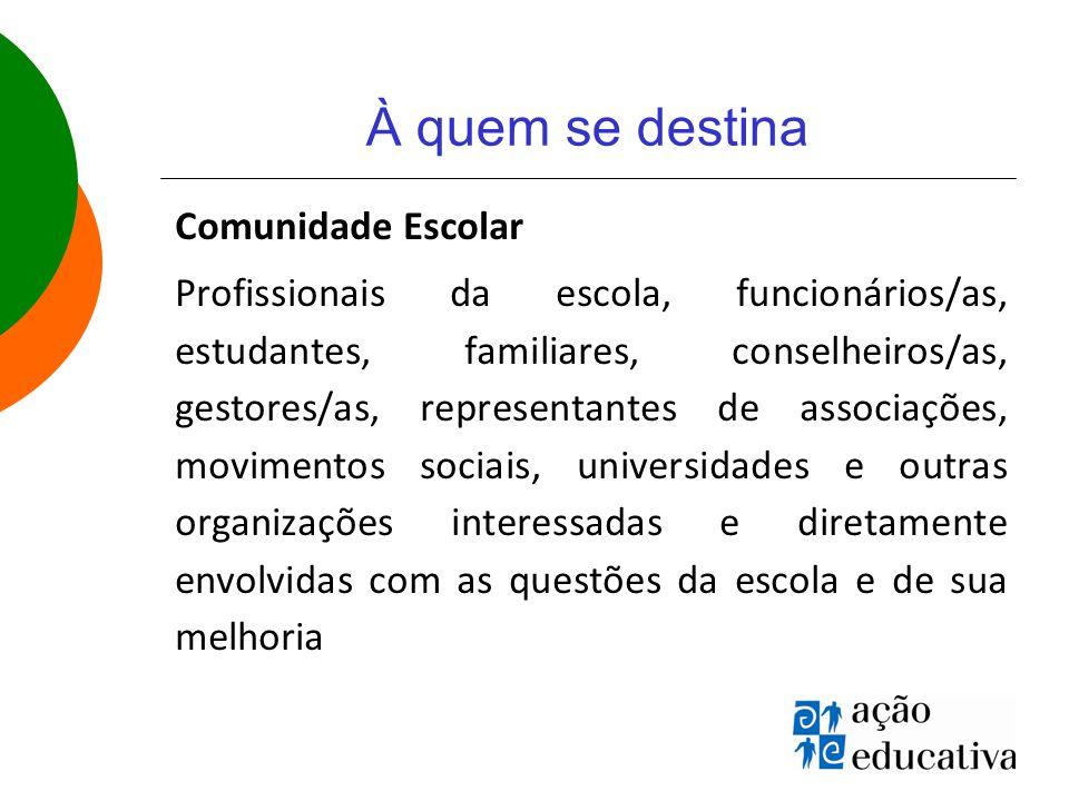 À quem se destina Comunidade Escolar Profissionais da escola, funcionários/as, estudantes, familiares, conselheiros/as, gestores/as, representantes de