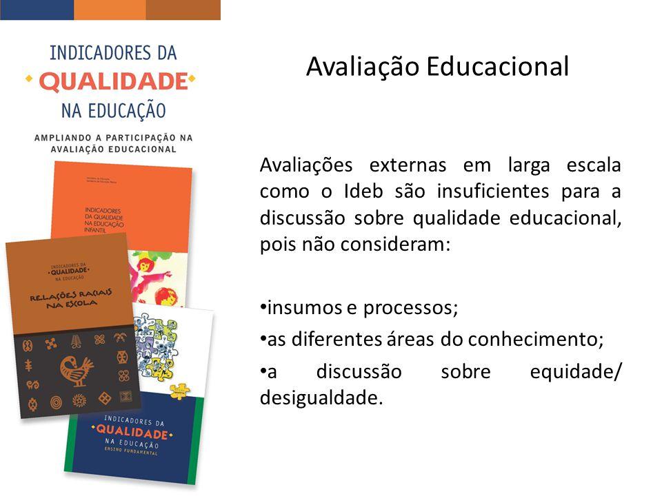 Avaliação Educacional Avaliações externas em larga escala como o Ideb são insuficientes para a discussão sobre qualidade educacional, pois não consideram: insumos e processos; as diferentes áreas do conhecimento; a discussão sobre equidade/ desigualdade.