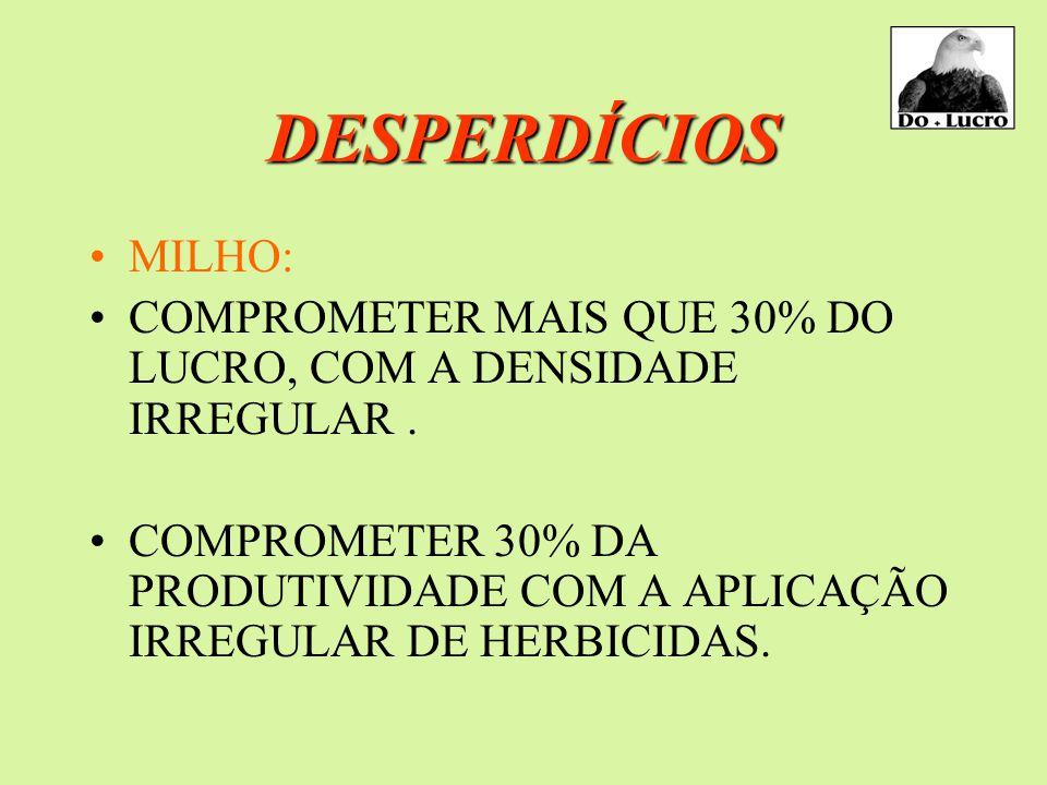 DESPERDÍCIOS SOJA no Paraná: –Média: 1,12 sc por hectare –0,12: 989.000 sc no Estado –Menor perda: 0,163sc = 9,8 kg por ha Produzir 1 ha gastando mais