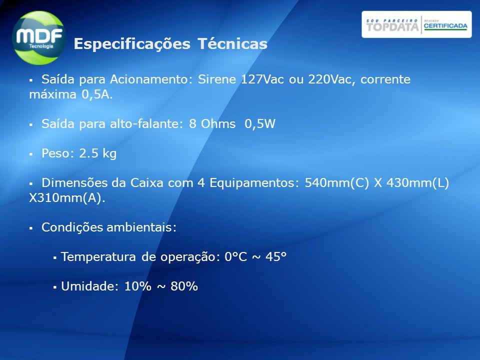  Saída para Acionamento: Sirene 127Vac ou 220Vac, corrente máxima 0,5A.