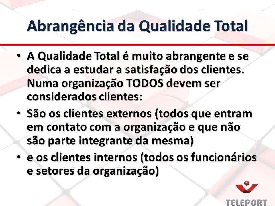 Abrangência da Qualidade Total A Qualidade Total é muito abrangente e se dedica a estudar a satisfação dos clientes. Numa organização TODOS devem ser
