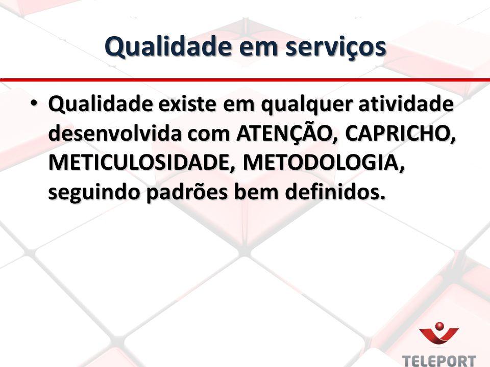 Qualidade em serviços Qualidade existe em qualquer atividade desenvolvida com ATENÇÃO, CAPRICHO, METICULOSIDADE, METODOLOGIA, seguindo padrões bem def