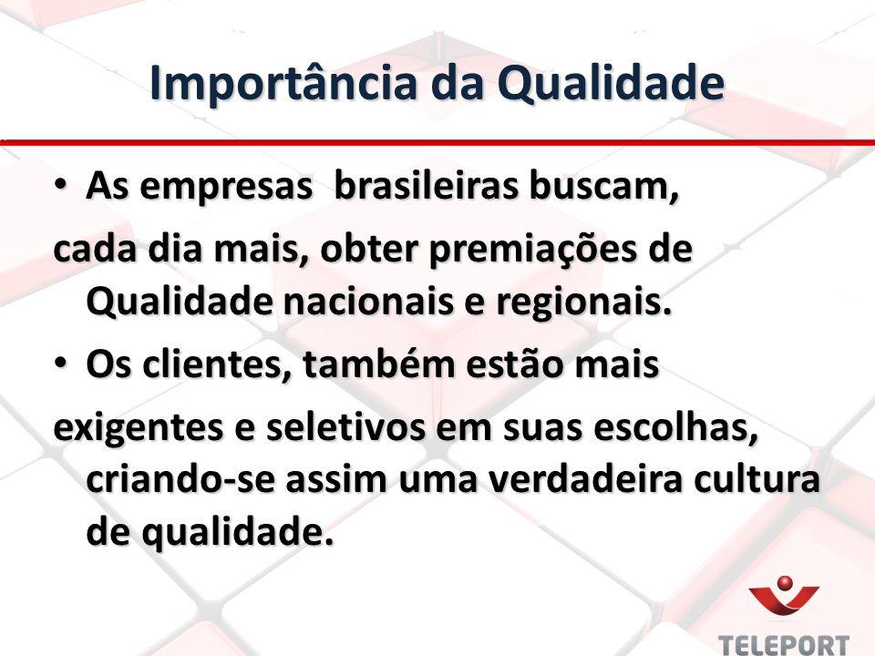 Importância da Qualidade As empresas brasileiras buscam, As empresas brasileiras buscam, cada dia mais, obter premiações de Qualidade nacionais e regi
