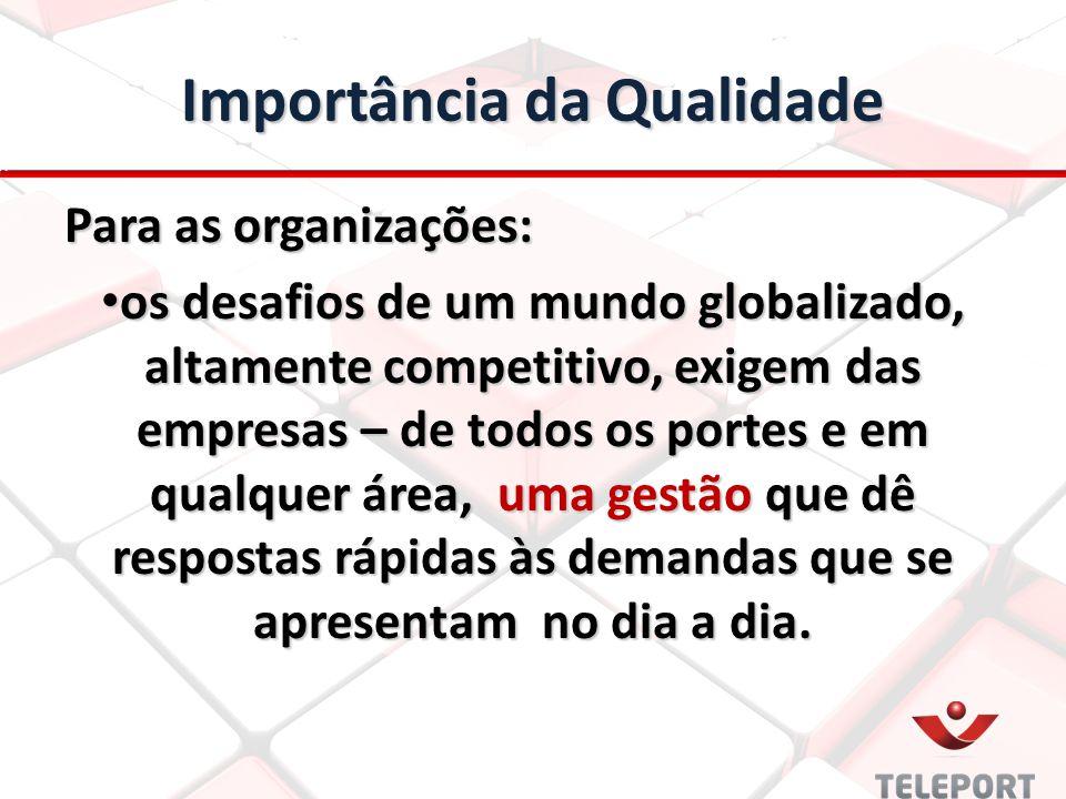 Importância da Qualidade Para as organizações: os desafios de um mundo globalizado, altamente competitivo, exigem das empresas – de todos os portes e