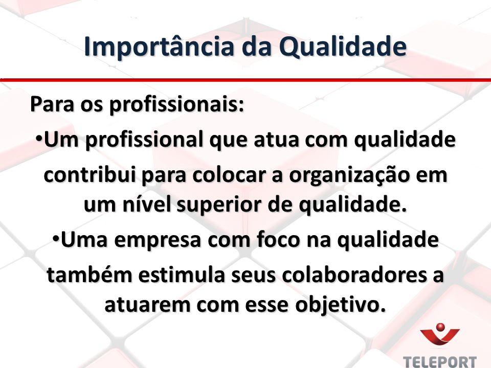 Importância da Qualidade Para os profissionais: Um profissional que atua com qualidade Um profissional que atua com qualidade contribui para colocar a