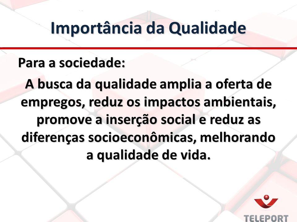 Importância da Qualidade Para a sociedade: A busca da qualidade amplia a oferta de empregos, reduz os impactos ambientais, promove a inserção social e