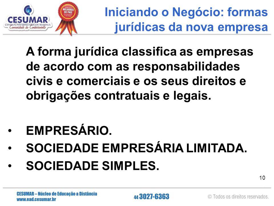 10 A forma jurídica classifica as empresas de acordo com as responsabilidades civis e comerciais e os seus direitos e obrigações contratuais e legais.