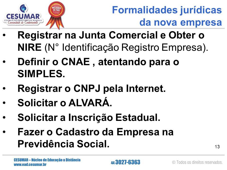 13 Registrar na Junta Comercial e Obter o NIRE (N° Identificação Registro Empresa). Definir o CNAE, atentando para o SIMPLES. Registrar o CNPJ pela In