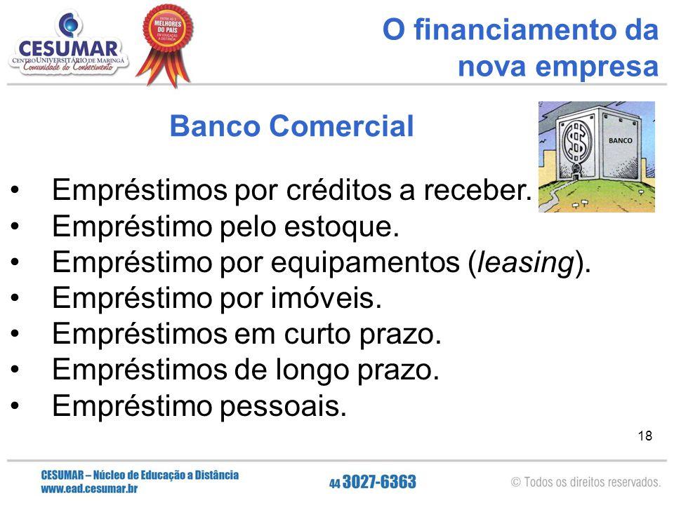 18 O financiamento da nova empresa Empréstimos por créditos a receber. Empréstimo pelo estoque. Empréstimo por equipamentos (leasing). Empréstimo por