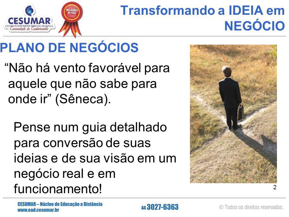 """2 Transformando a IDEIA em NEGÓCIO """"Não há vento favorável para aquele que não sabe para onde ir"""" (Sêneca). PLANO DE NEGÓCIOS Pense num guia detalhado"""