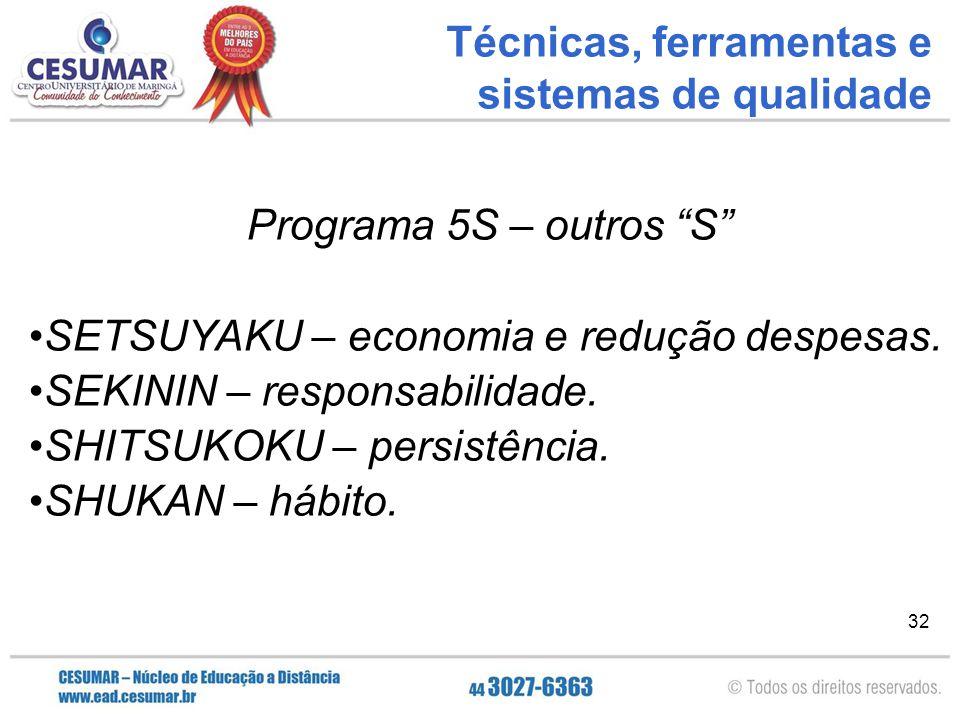 """32 Programa 5S – outros """"S"""" SETSUYAKU – economia e redução despesas. SEKININ – responsabilidade. SHITSUKOKU – persistência. SHUKAN – hábito. Técnicas,"""