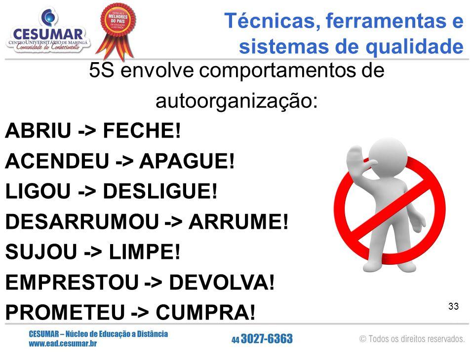 33 5S envolve comportamentos de autoorganização: ABRIU -> FECHE! ACENDEU -> APAGUE! LIGOU -> DESLIGUE! DESARRUMOU -> ARRUME! SUJOU -> LIMPE! EMPRESTOU