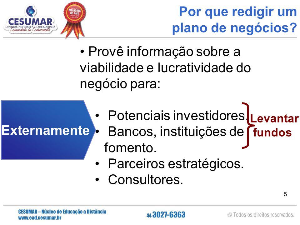 5 Externamente Provê informação sobre a viabilidade e lucratividade do negócio para: Potenciais investidores. Bancos, instituições de fomento. Parceir