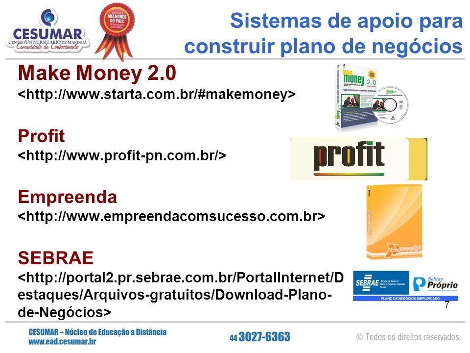 7 Sistemas de apoio para construir plano de negócios Make Money 2.0 Profit Empreenda SEBRAE