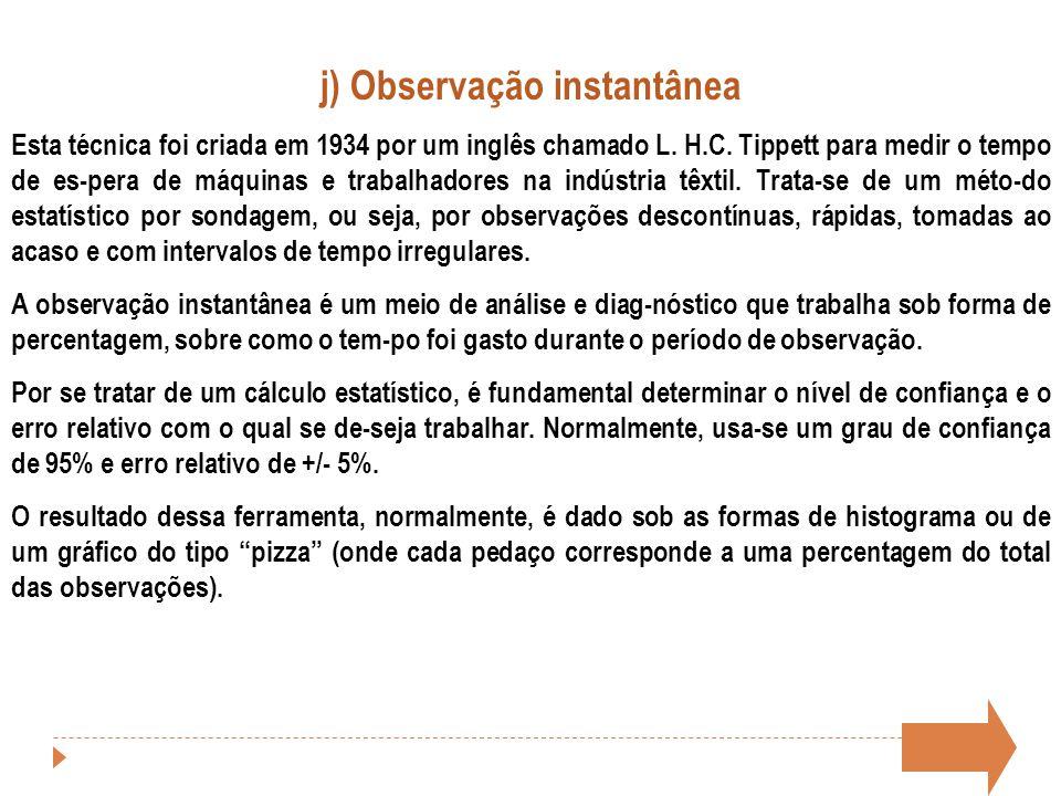 j) Observação instantânea Esta técnica foi criada em 1934 por um inglês chamado L. H.C. Tippett para medir o tempo de es-pera de máquinas e trabalhado
