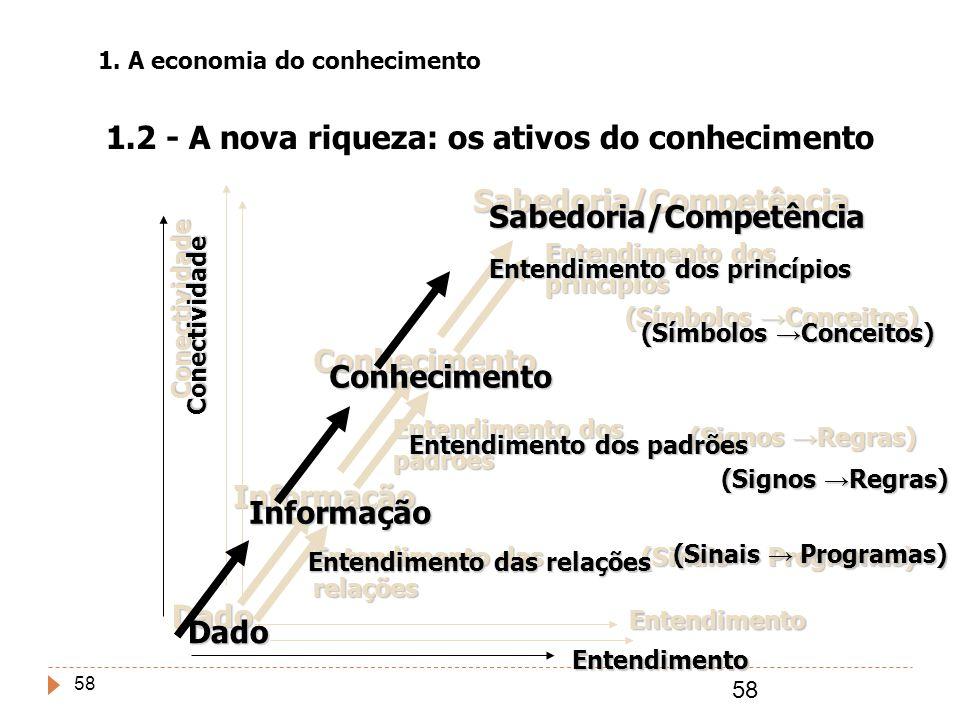 58 Dado Informação Conhecimento Sabedoria/Competência Conectividade Entendimento Entendimento das relações Entendimento dos padrões Entendimento dos p