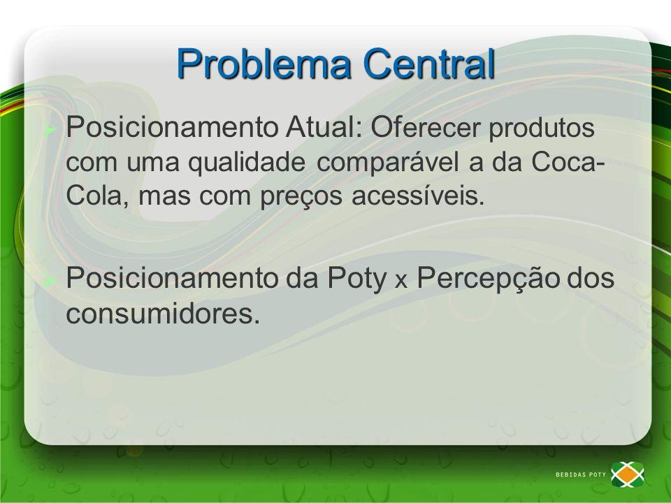 Problemas Percepção de baixa qualidade Preço inferior das líderes Associação a produto regional Alto preço Posição nas gôndolas