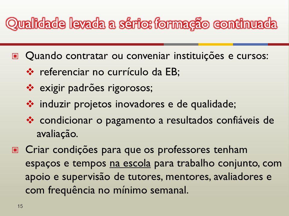 ▣ Quando contratar ou conveniar instituições e cursos:  referenciar no currículo da EB;  exigir padrões rigorosos;  induzir projetos inovadores e d