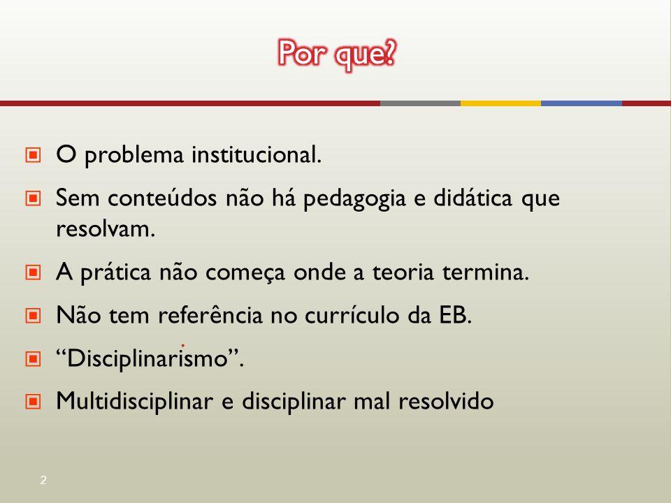 ▣ O problema institucional. ▣ Sem conteúdos não há pedagogia e didática que resolvam. ▣ A prática não começa onde a teoria termina. ▣ Não tem referênc