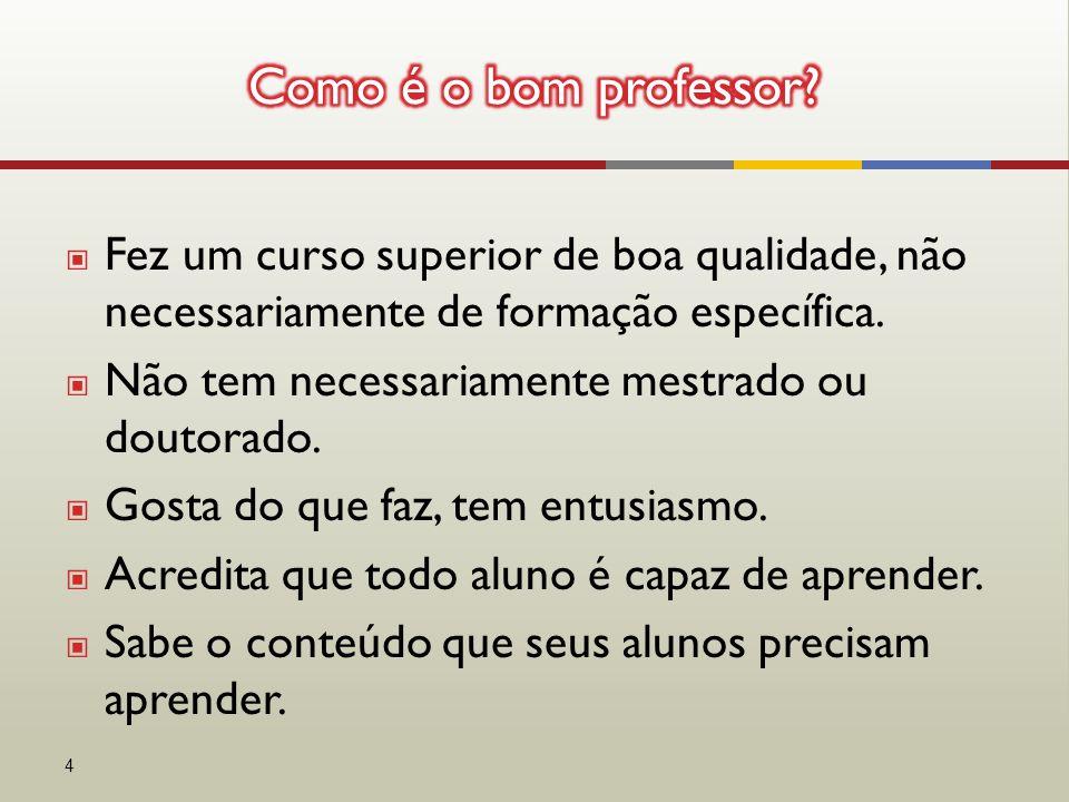 ▣ Fez um curso superior de boa qualidade, não necessariamente de formação específica.