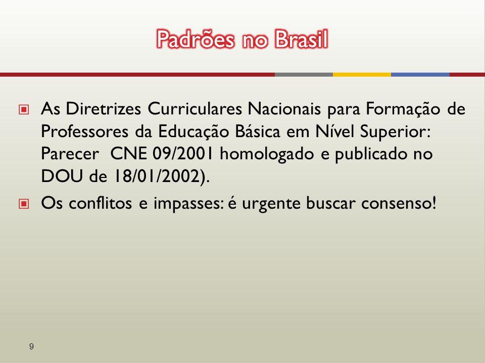 ▣ As Diretrizes Curriculares Nacionais para Formação de Professores da Educação Básica em Nível Superior: Parecer CNE 09/2001 homologado e publicado no DOU de 18/01/2002).