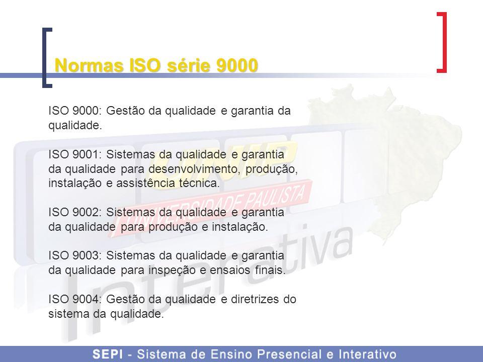 Normas ISO série 9000 ISO 9000: Gestão da qualidade e garantia da qualidade. ISO 9001: Sistemas da qualidade e garantia da qualidade para desenvolvime
