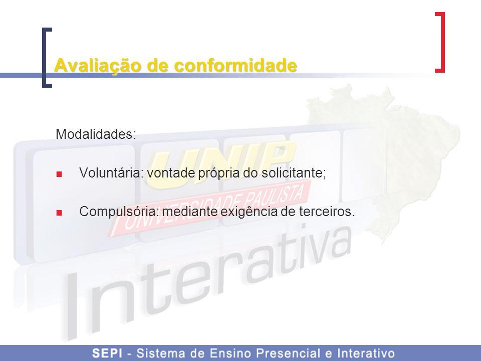 Avaliação de conformidade Modalidades: Voluntária: vontade própria do solicitante; Compulsória: mediante exigência de terceiros.