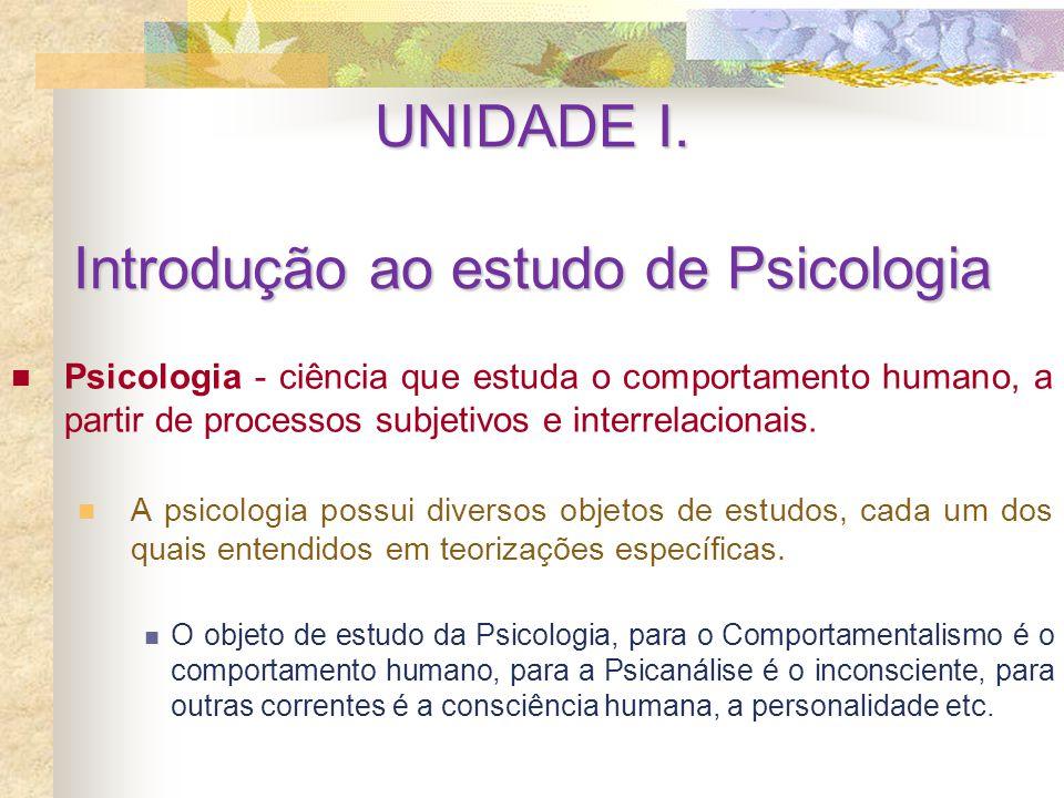 Psicologia - ciência que estuda o comportamento humano, a partir de processos subjetivos e interrelacionais. A psicologia possui diversos objetos de e