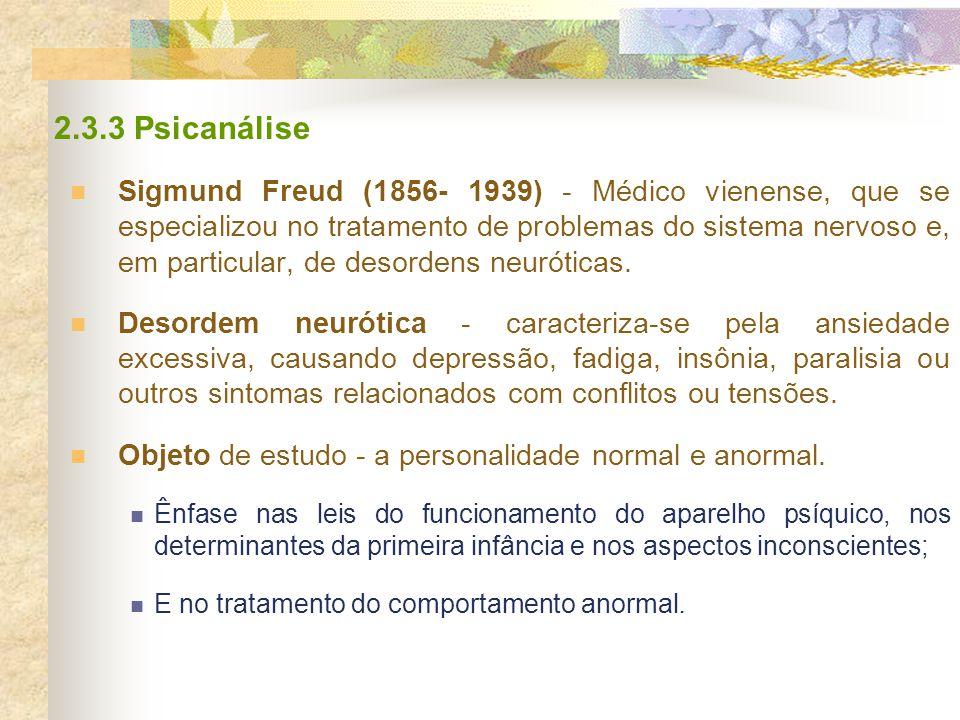 2.3.3 Psicanálise Sigmund Freud (1856- 1939) - Médico vienense, que se especializou no tratamento de problemas do sistema nervoso e, em particular, de