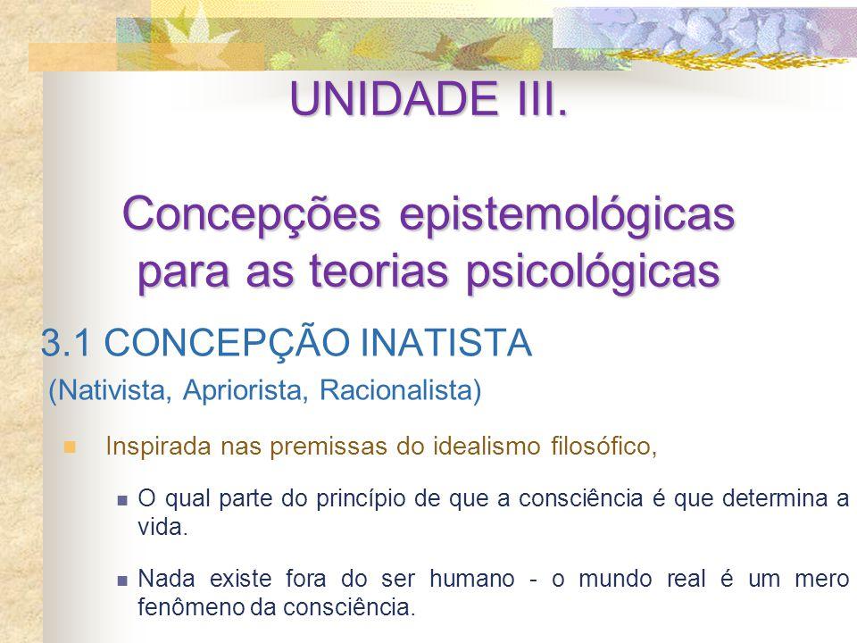 UNIDADE III. Concepções epistemológicas para as teorias psicológicas 3.1 CONCEPÇÃO INATISTA (Nativista, Apriorista, Racionalista) Inspirada nas premis