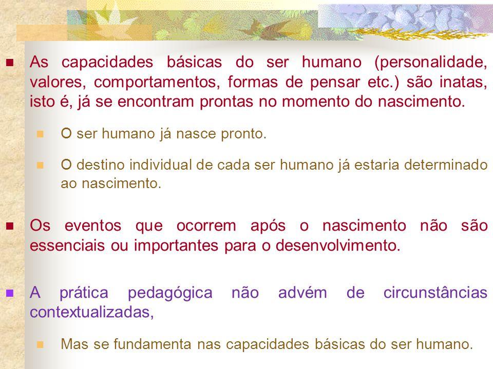 As capacidades básicas do ser humano (personalidade, valores, comportamentos, formas de pensar etc.) são inatas, isto é, já se encontram prontas no mo