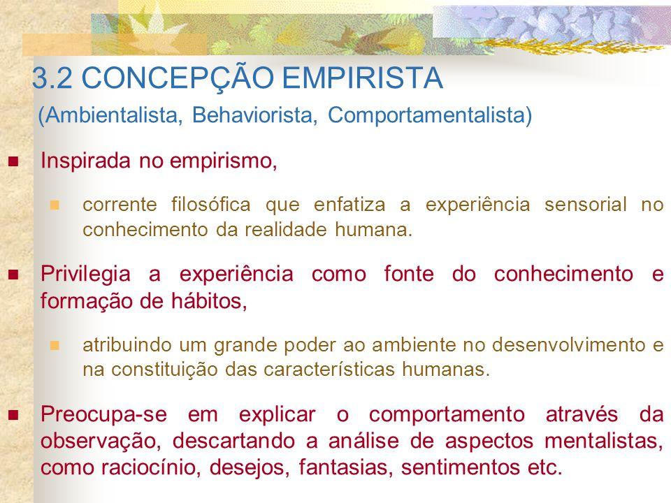 3.2 CONCEPÇÃO EMPIRISTA (Ambientalista, Behaviorista, Comportamentalista) Inspirada no empirismo, corrente filosófica que enfatiza a experiência senso