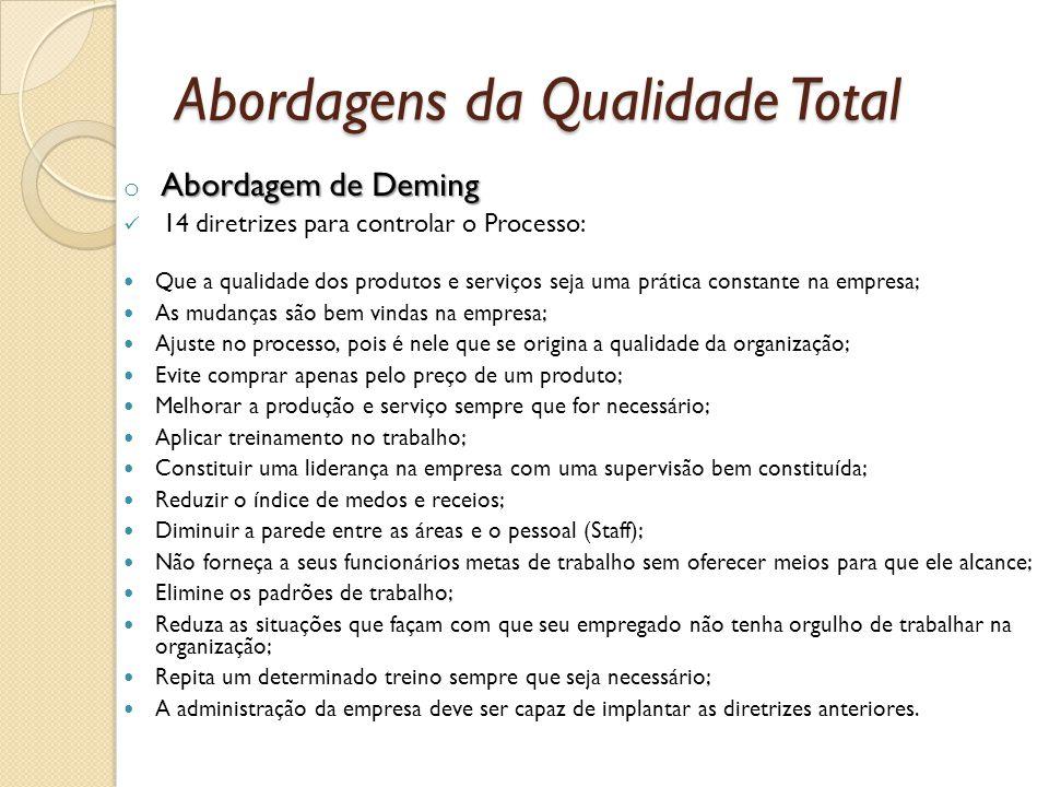 Abordagens da Qualidade Total Abordagem de Deming o Abordagem de Deming 14 diretrizes para controlar o Processo: Que a qualidade dos produtos e serviç