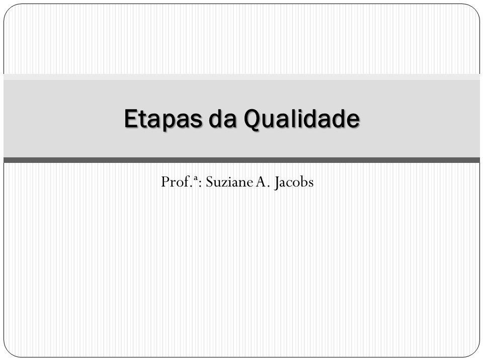 Prof.ª: Suziane A. Jacobs Etapas da Qualidade