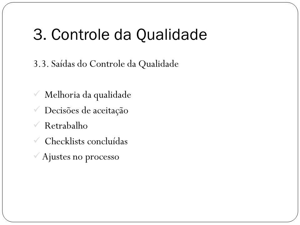 3.3. Saídas do Controle da Qualidade Melhoria da qualidade Decisões de aceitação Retrabalho Checklists concluídas Ajustes no processo 3. Controle da Q