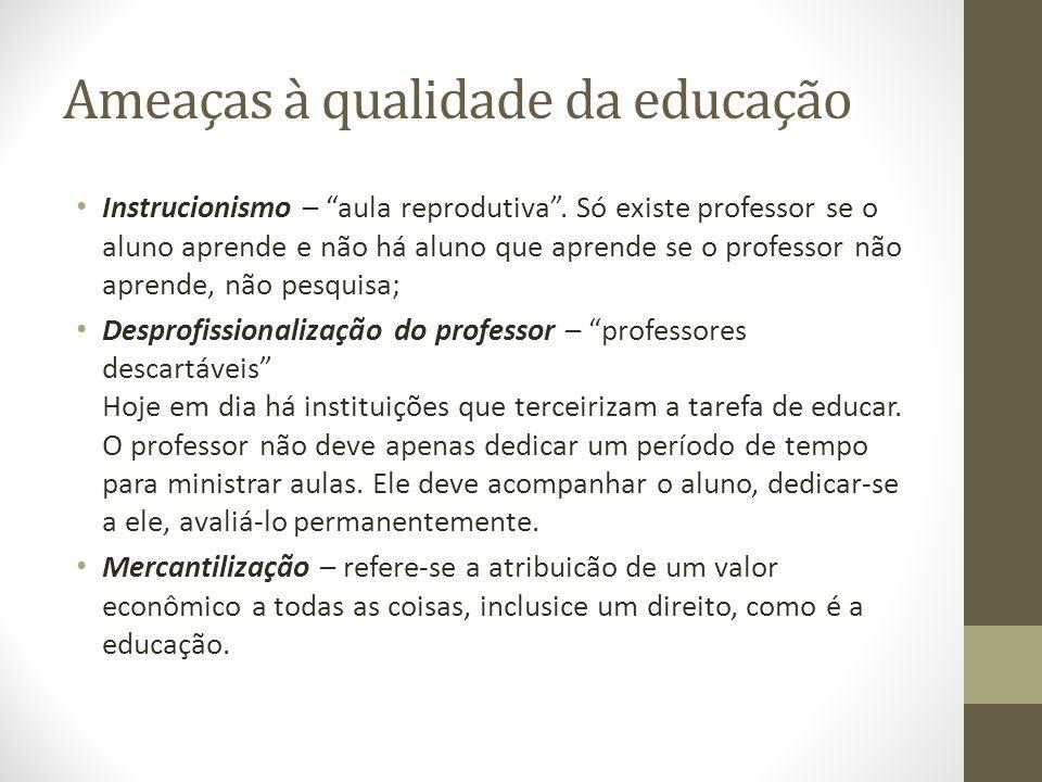 Ameaças à qualidade da educação Instrucionismo – aula reprodutiva .