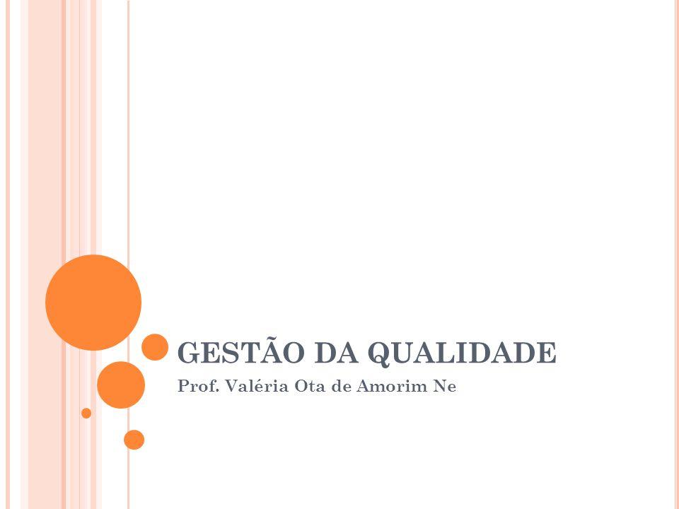GESTÃO DA QUALIDADE Prof. Valéria Ota de Amorim Ne