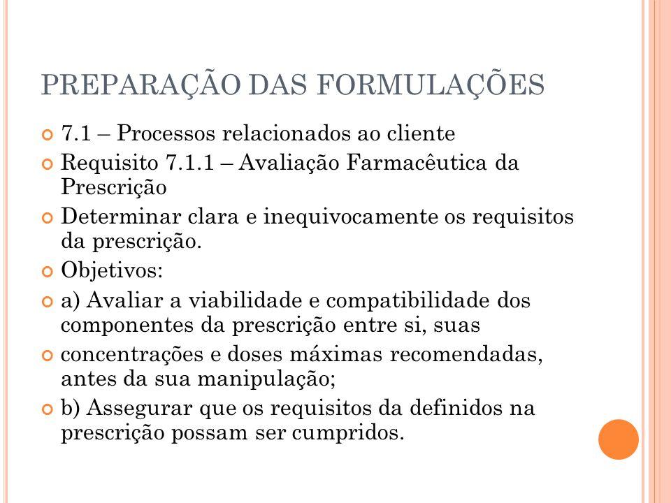 PREPARAÇÃO DAS FORMULAÇÕES 7.1 – Processos relacionados ao cliente Requisito 7.1.1 – Avaliação Farmacêutica da Prescrição Determinar clara e inequivoc