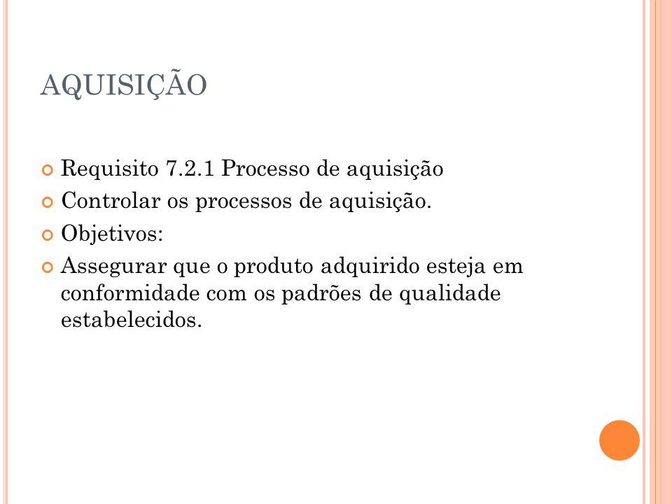 AQUISIÇÃO Requisito 7.2.1 Processo de aquisição Controlar os processos de aquisição. Objetivos: Assegurar que o produto adquirido esteja em conformida