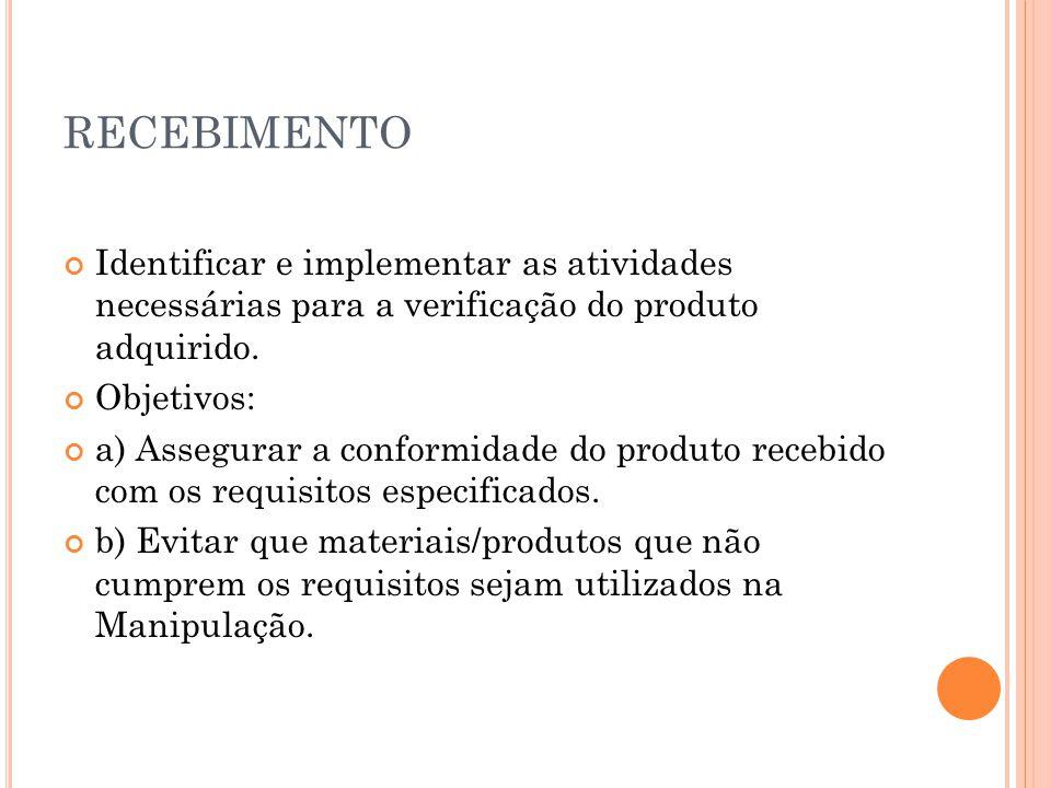 RECEBIMENTO Identificar e implementar as atividades necessárias para a verificação do produto adquirido. Objetivos: a) Assegurar a conformidade do pro